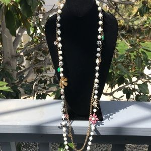 Betsy Johnson double strand pearl charm necklace!